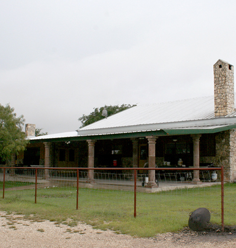Close up view of the hunting lodge in Fort McKavett, Texas.