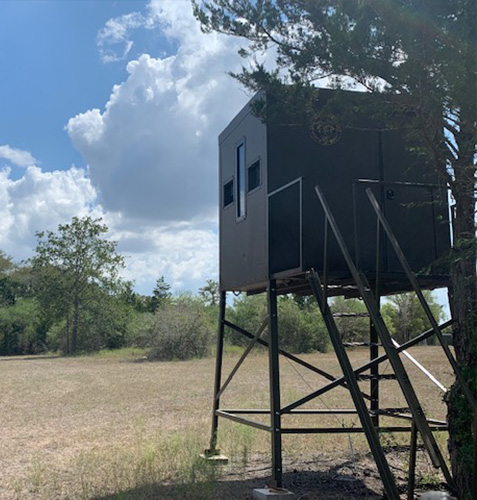 Hunting blind with tower on the deer hunting ranch in Shiner, Texas.